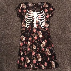 Skeleton Ribcage Pink Roses Dress